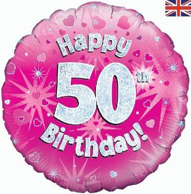 18 inch round 50th Sparkle Pink Birthday