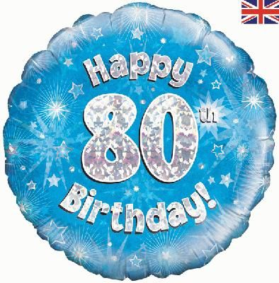 18 inch round 80th Sparkle Blue Birthday balloon