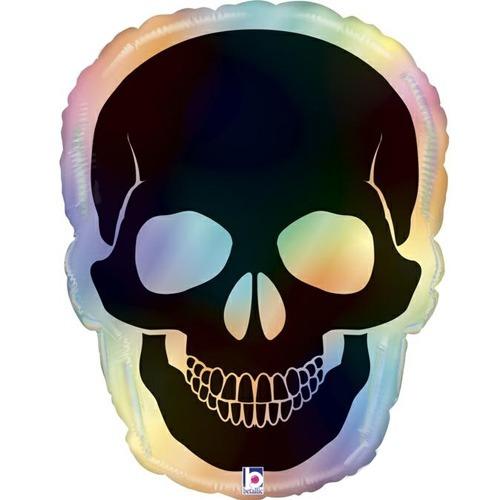 27 Inch Opal Skull Foil Balloon