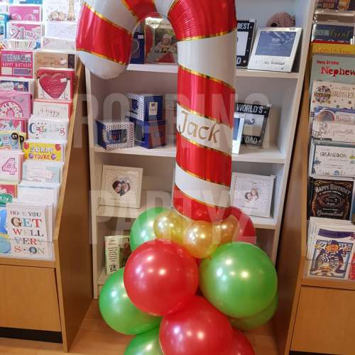 Candy Cane Balloon Tower