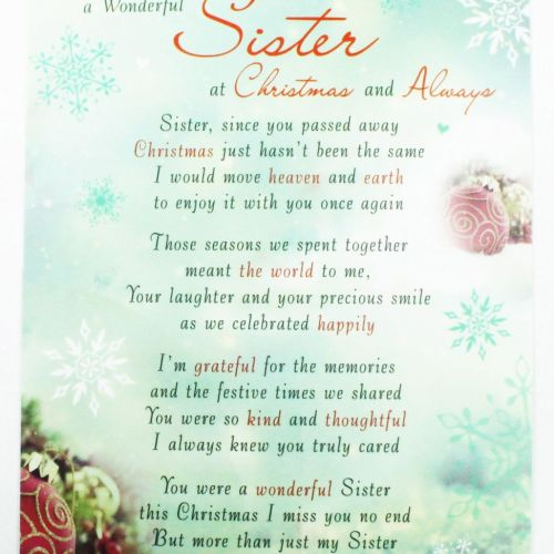 Sister Memorial Graveside Christmas Card