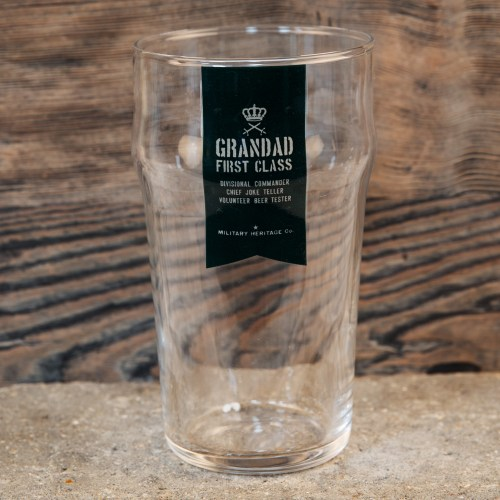 A fun and quirky 'Military Heritage Beer Glass - Grandad First Class' pint glass from Military Heritage by HARVEY MAKIN®.