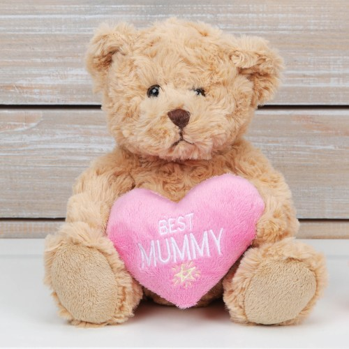 Brown Teddy Bear with Pink Heart - Best Mummy