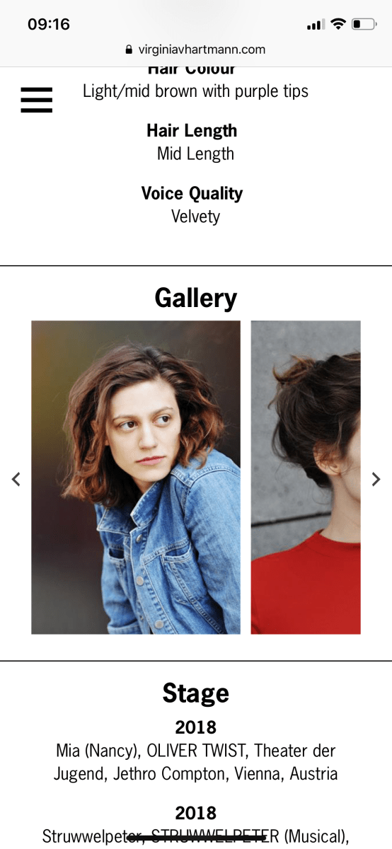 Mobile view of a gallery on Virginia's website