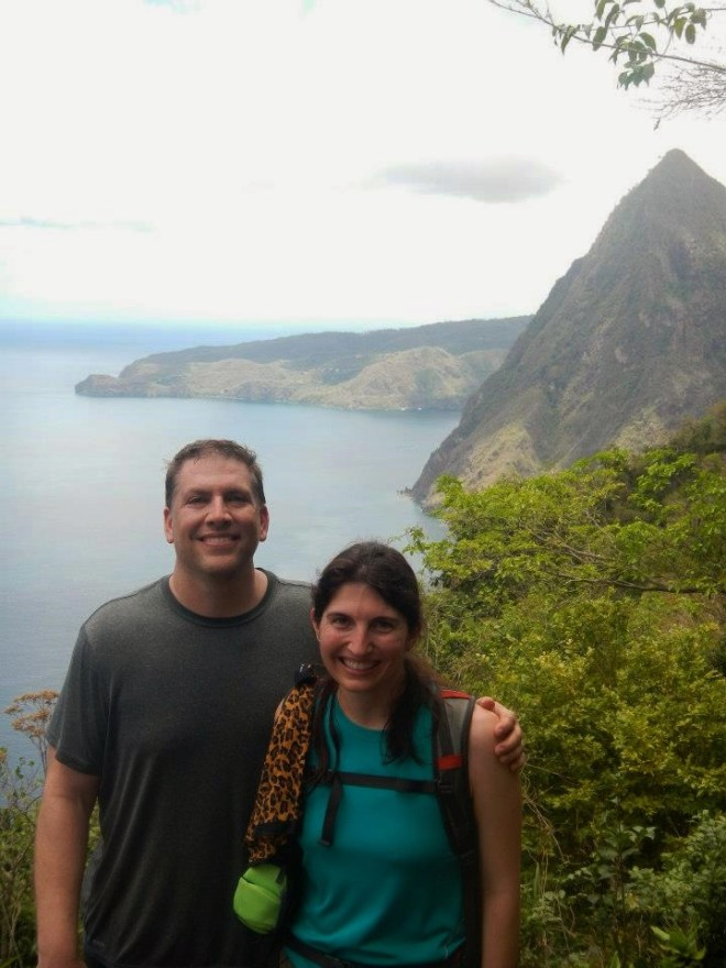View of Petit Piton on our way up Gros Piton