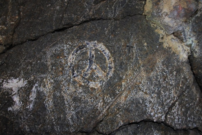 Peace sign on rock Mt. Monadnock