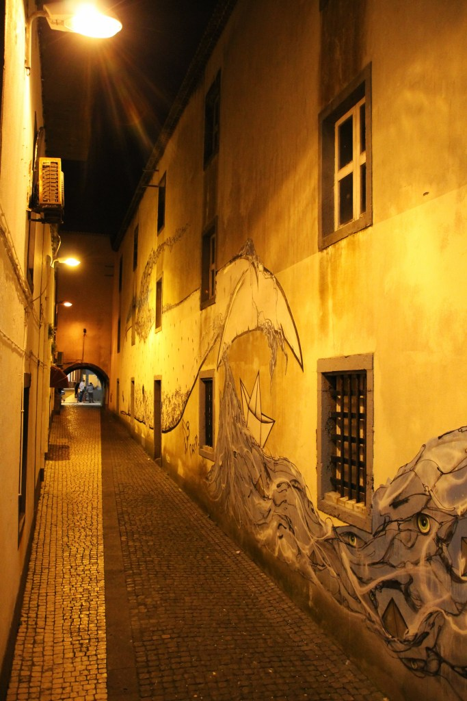 Azores street art in alley