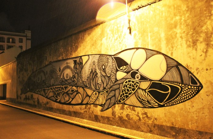 big whale Street Art of the Azores