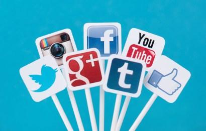 sticks with different social media logos