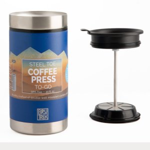 Planetary design 20oz thermal travel french press in textured blue is best method for brewing coffee and tea.