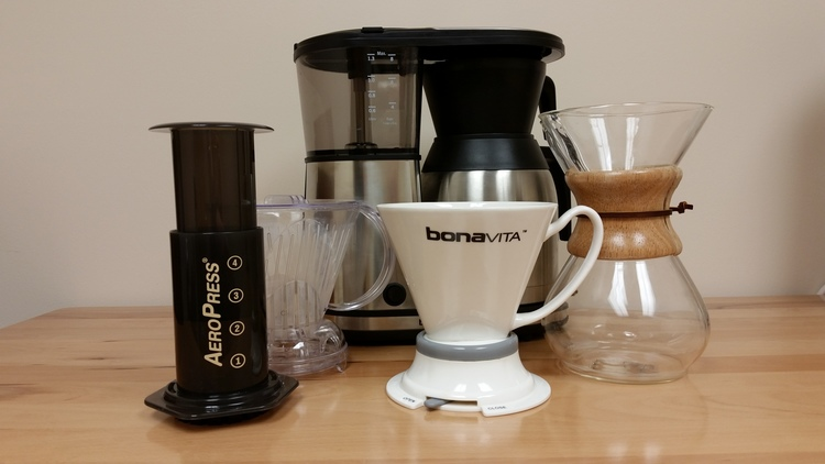 Left to right: Aeropress, Clever, BV Immersion dripper, Chemex, and BV1900TS (in back)