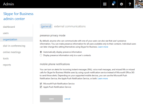 O365 Skype For Business Organization