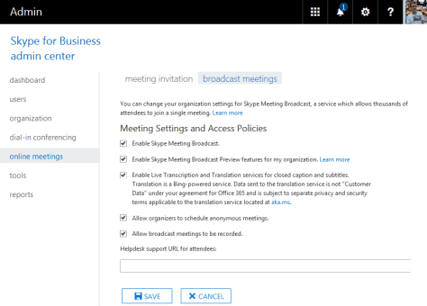 O365 Skype For Business Broadcasting