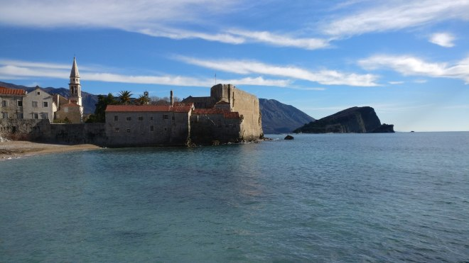 Budva old town from the beach