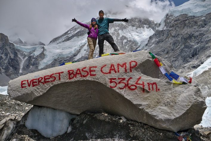 Bonus shot from the above! we were so happy | Everest Base Camp Itinerary