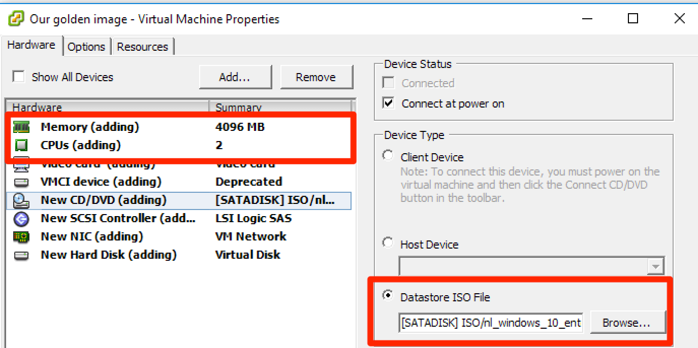 Tuning Microsoft Windows 10 for VDI - Part 1, creating the
