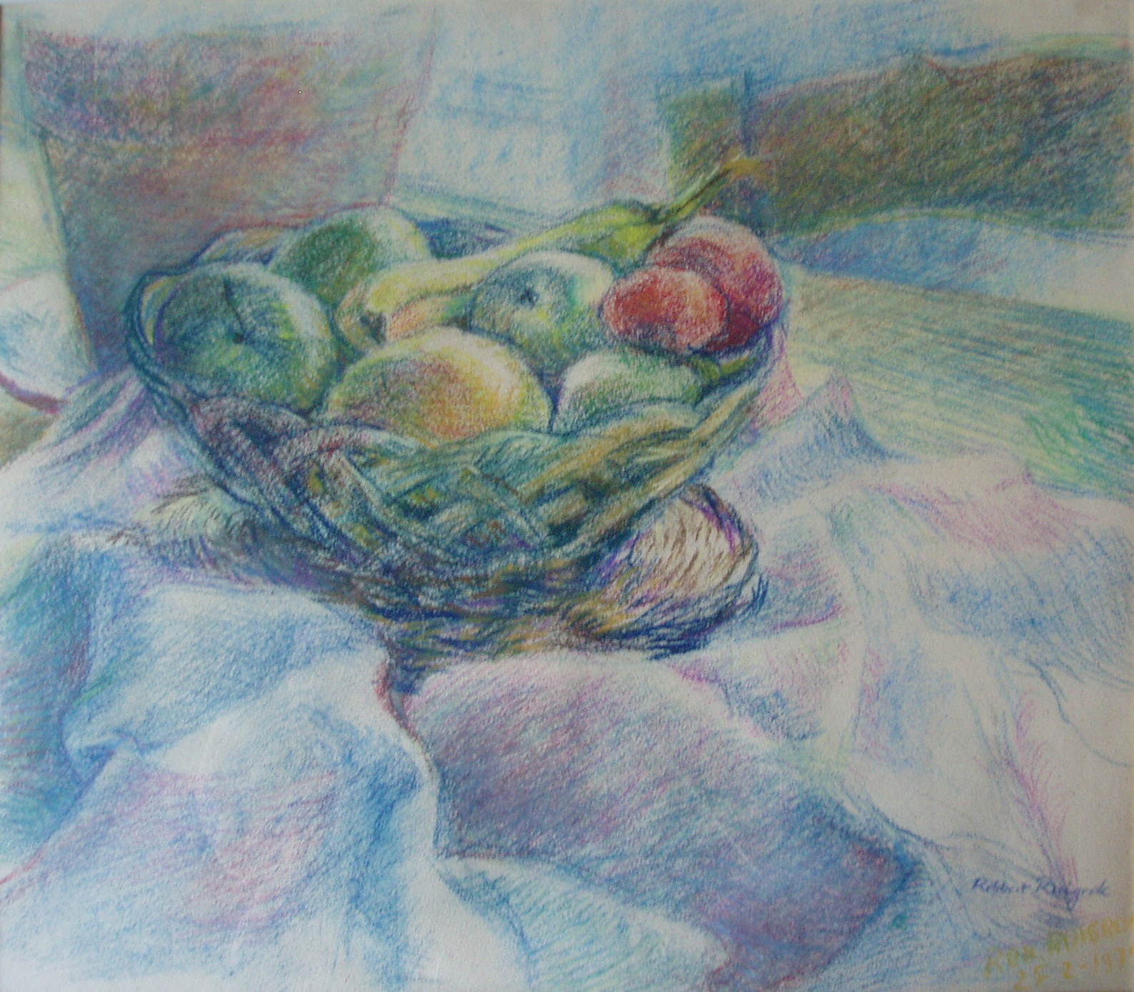 Robbert Ruigrok, 'Stilll Life with Fruit', 1980. Pastel.