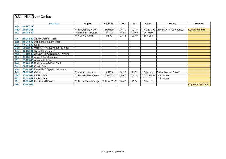 Nile Cruise Schedule