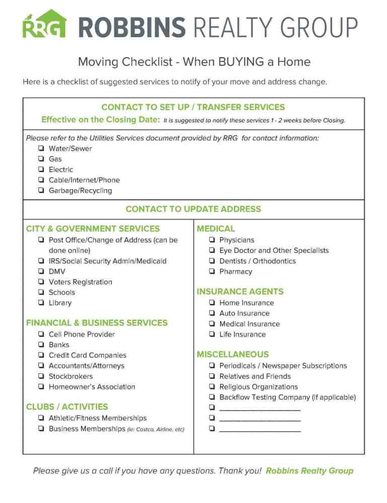 moving checklist when buying a home