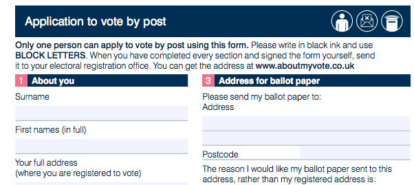 Postal vote application form for 2017 election.