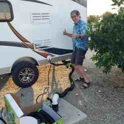 Robb Lightfoot gets his first hookup - that is to say an RV hookup.