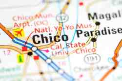 Chico on Map - image purchased from shutterstock