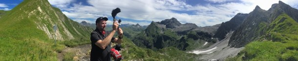 Robb Montgomery filming in the Alps