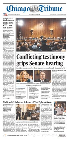 Chicago Tribune Newspaper front page: #KavanaughHearings