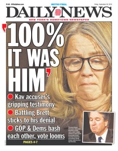 NY Daily News Newspaper front page: #KavanaughHearings