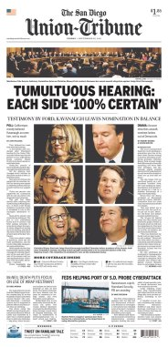 The San Diego Tribune Newspaper front page: #KavanaughHearings