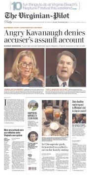 The Virginian-Pilot Newspaper front page: #KavanaughHearings