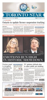 Toronto Star Newspaper front page: #KavanaughHearings