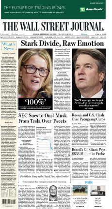 Wall Street Journal - Friday's front page: #KavanaughHearings