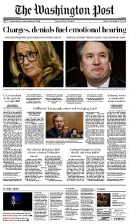 The Washington Post - Friday's front page: #KavanaughHearings