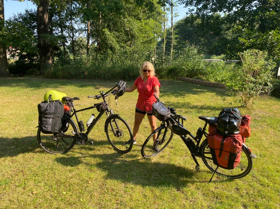 Two bikes loaded with camp gear for Berlin to Copenhagen bike tour