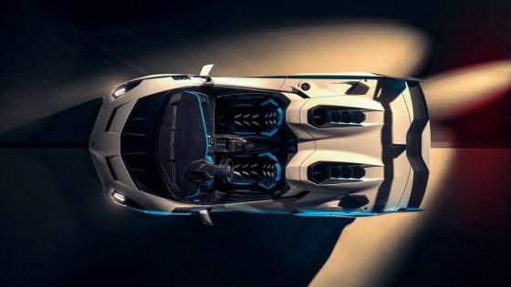 An overhead view of the Lamborghini SC20.