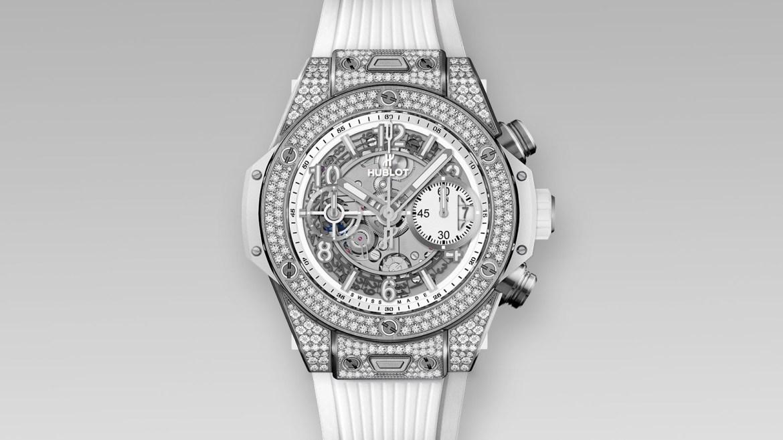 BB Unico White 42mm 250 - Hublot reduce el tamaño del Big Bang Unico con diamantes para él y para ella