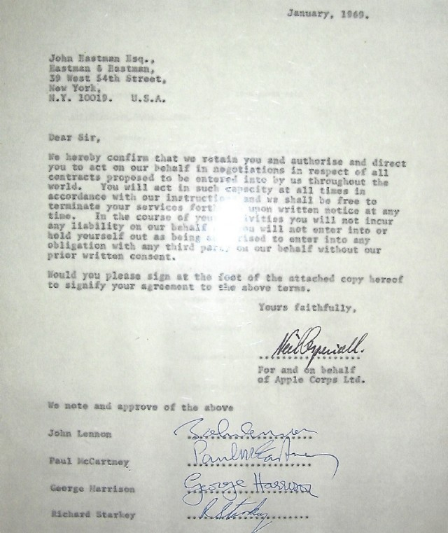 carta 1 - Por 550 mil dólares podrás enterarte del motivo de la separación de Los Beatles