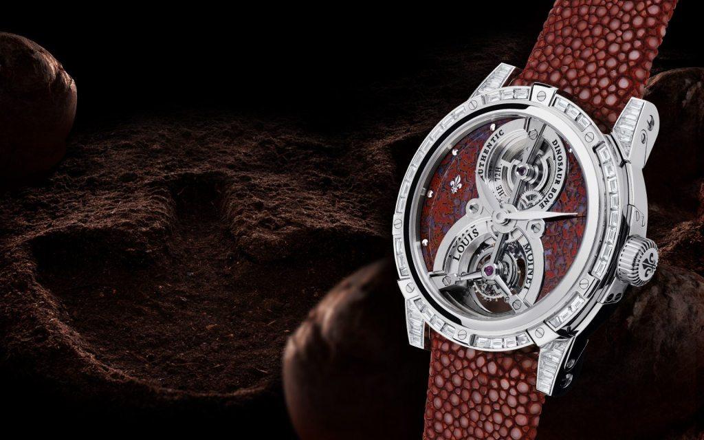 Un reloj con una pieza jurásica de verdad