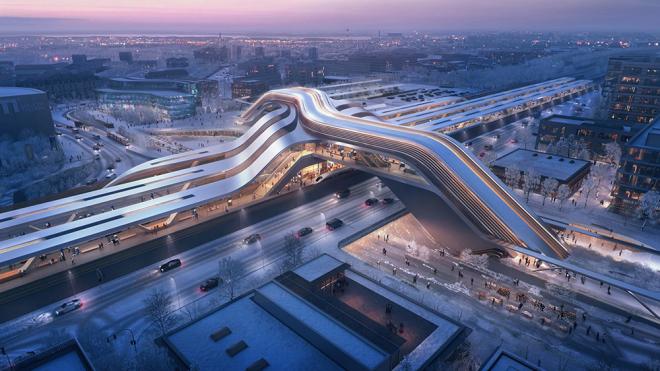Zaha Hadid Architects diseñó una estación de tren que parece sacada de una película de ciencia ficción