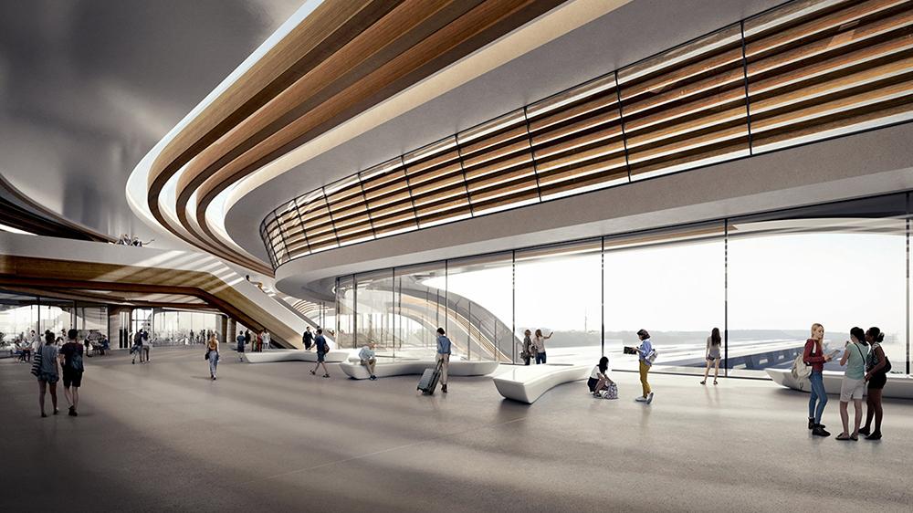 Interior de la futurista estación de tren en Tallín diseñada por Zaha Hadid