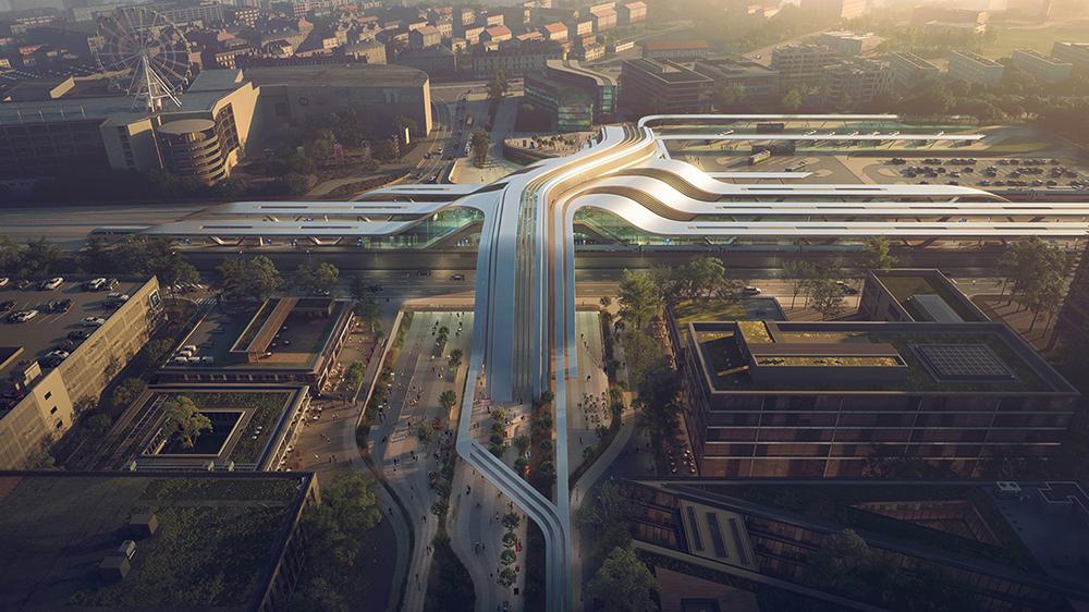 Futurista estación de tren en Tallín diseñada por Zaha Hadid