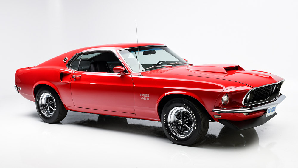 The 1969 Ford Mustang Boss 429 presented by Barrett-Jackson.