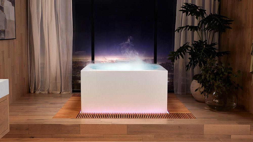 Con aromaterapia, luces de colores y comandos de voz, la bañera inteligente de Kohler es un spa en casa
