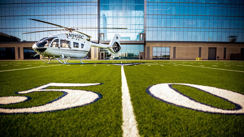 Los Vaqueros de Dallas llegan a los cielos no del juego, pero sí con un helicóptero