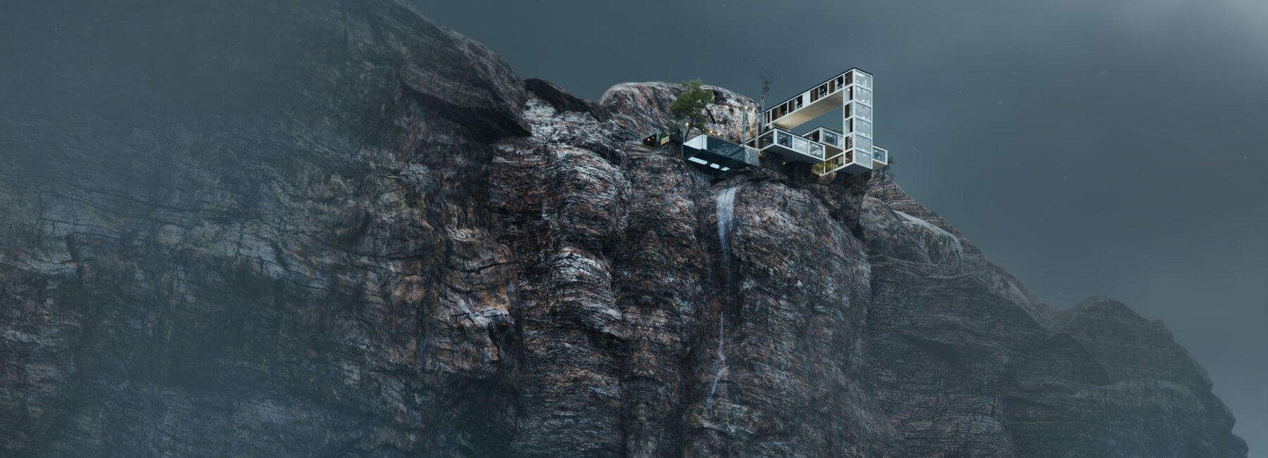 'Mountain house' de Milad Eshtiyaghi luce como bloques de Tetris sobre un acantilado