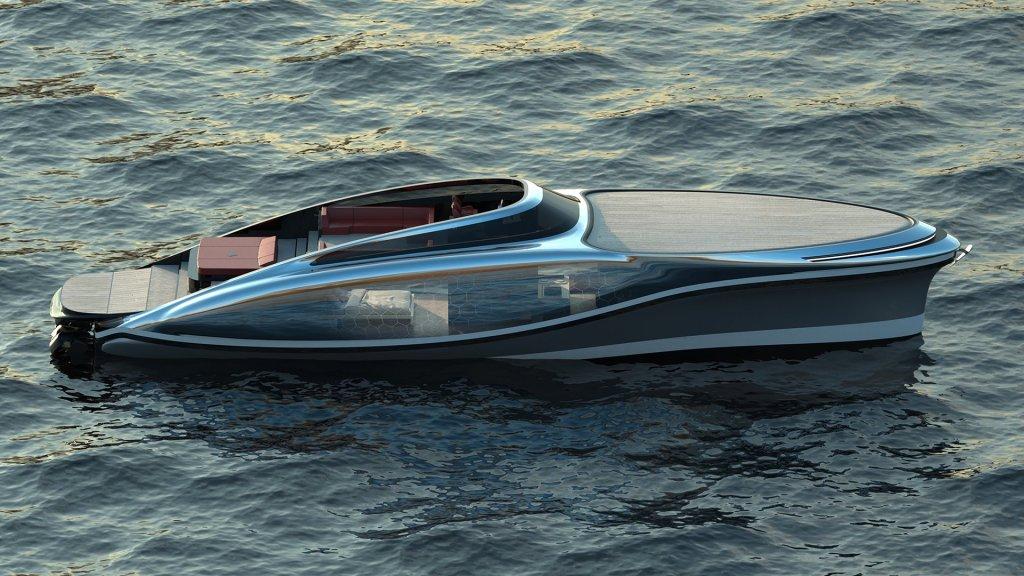Tan claro como el agua, así es Embryon, el bote con casco traslúcido de Lazzarini