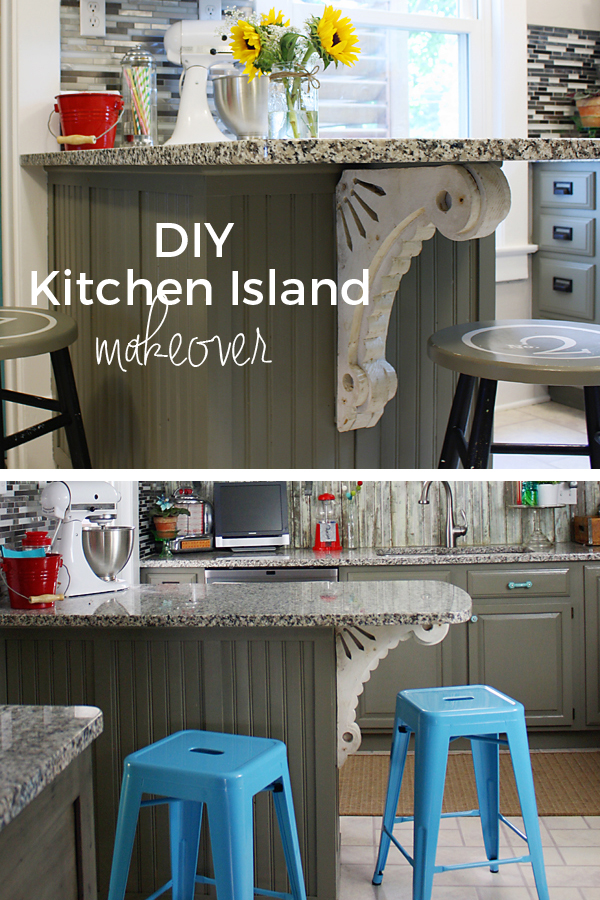 DIY Kitchen Island Makeover with vintage architectural corbel