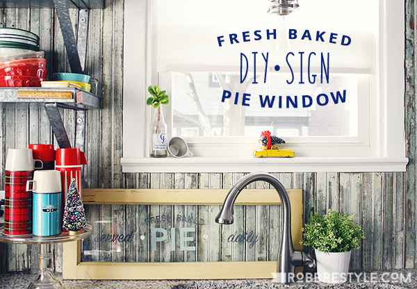 DIY Fresh Baked Pie Window Sign with DecoArt Chalky Finish Paint for Glass