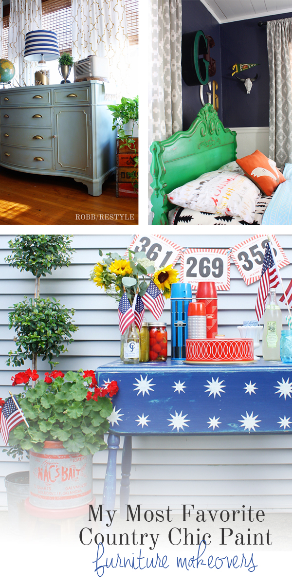 Favorite DIY Country Chic Paint Projects - Patriotic Table Makeover